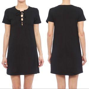 Eight Sixty Ponte Lace Up Mini Dress